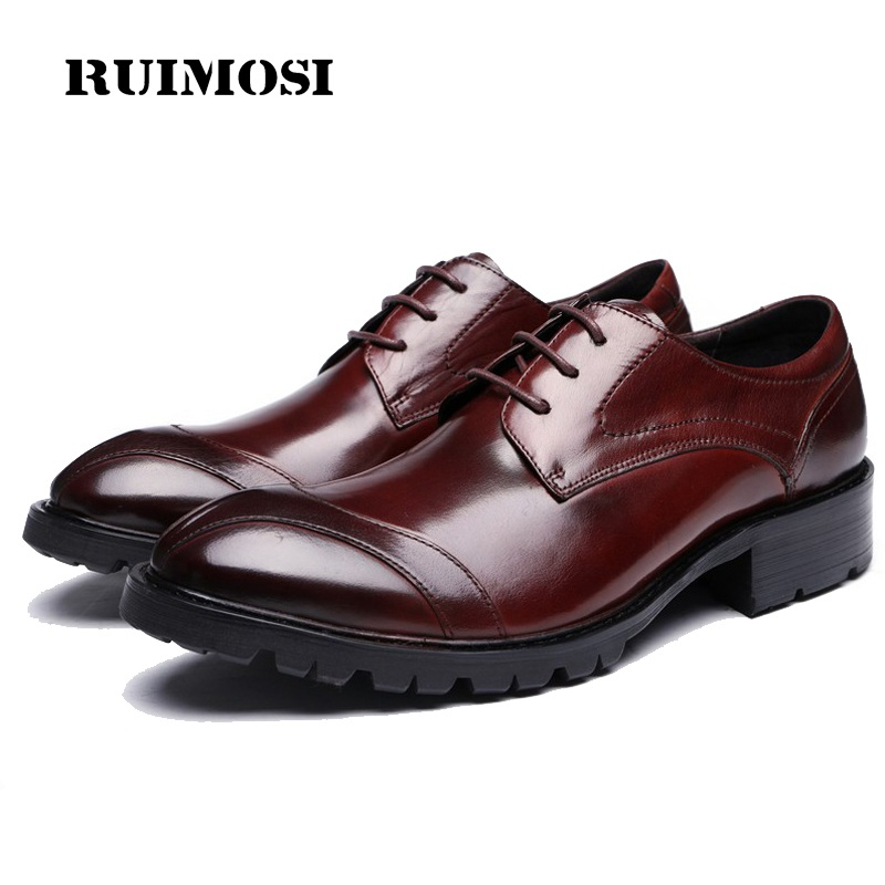 RUIMOSI Formal Man Flat Platform Dress Shoes Genuine Leather Top Quality Oxfords Luxury Brand Men's Wedding Bridal Footwear OD24