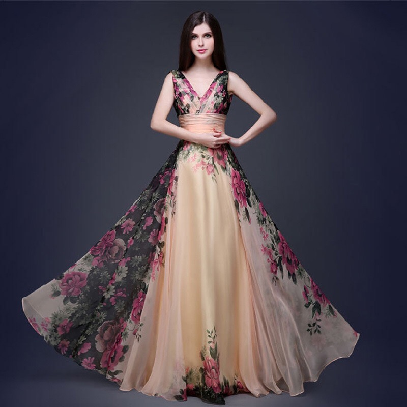 2019 New Spring Fashion Women s Luxury Jacquard Flower Embroidery Long Dress Elegant Ladies V neck