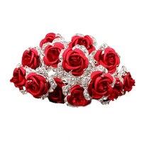 Meilleur Vente 20 pcs Lot Rose Fleur En Cristal Clair Strass Diamante Femmes De Mariage De Mariée Cheveux Pins Clips Diapositives Rouge