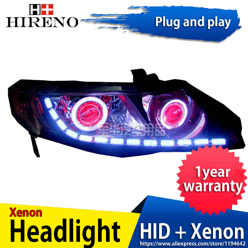 Car custom Modified Xenon Headlamp for Honda Civic 2006-2011 Headlights Assembly Car styling Angel Lens HID 2pcs hireno headlamp for mercedes benz w163 ml320 ml280 ml350 ml430 headlight assembly led drl angel lens double beam hid xenon 2pcs