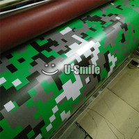 Digital Military Green Camo Large Pixel Camouflage Vinyl Car Wrap Air Bubble Free For Scooter Motocycle
