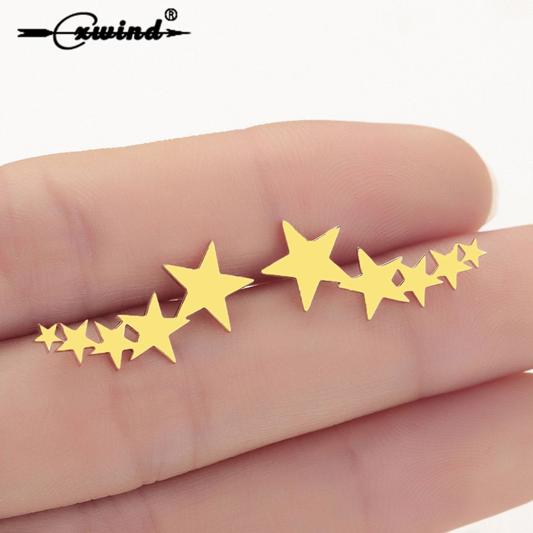 Cxwind Fashion Exquisite Stackable Star Stud Earrings for Women Ear Climber Earring Jewelry Valentine's Day Gift Brincos de