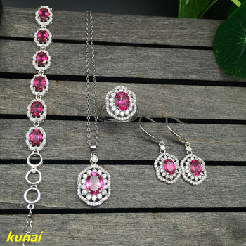 KJJEAXCMY boutique jewels 925 silver inlaid with a natural pink topaz ring pendant earrings bracelet with a necklace.