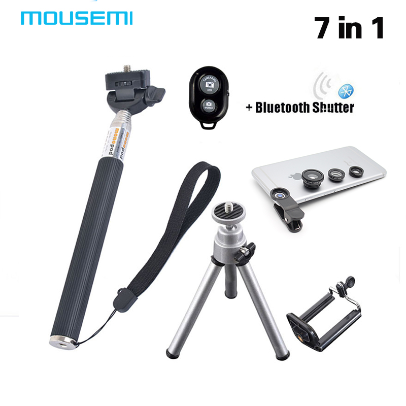 7in1 <font><b>Hotting</b></font> 3 in 1 Lenses Fish Eye for xiaomi redmi note 3 Selfie Stick Monopod Bluetooth Shutter for sumsung galaxy core prime