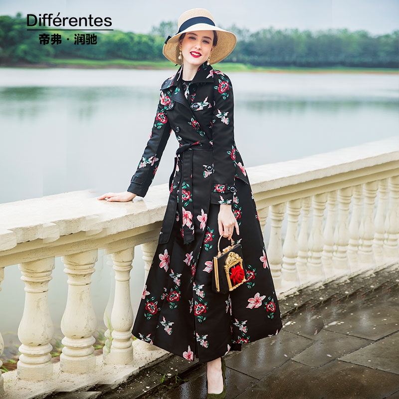 Trench   Coat High Quality Printed Autumn Black Coat Women Turndown Collar Long Coat Overcoat Female Casual Double Breasted 9042