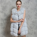 Hot Fashion Women's Winter Warm Faux Fur O-Neck Slim Long Vest Waistcoat