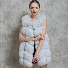 Hot Fashion Women's Winter Warm Faux Fur O-Neck Slim Long Vest Waistcoat
