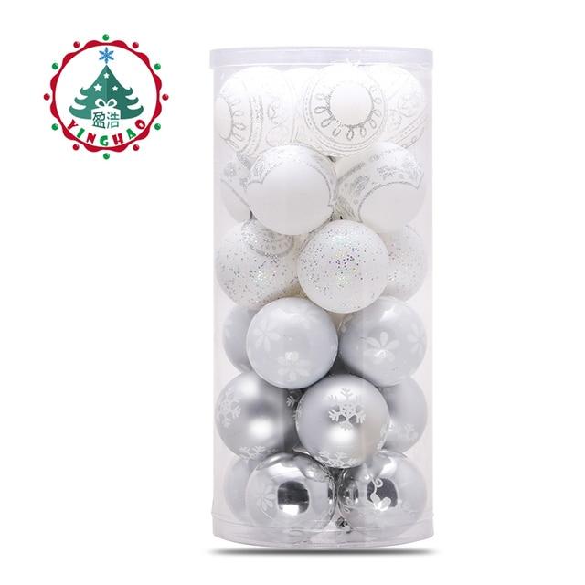 Inhoo 2018 árbol de Navidad colgantes bolas 6/8 cm blanco plateado ...