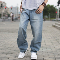 60 130kg Big Men Light Blue Loose Jeans For Men Spring And Autumn Male Skateboard Pants