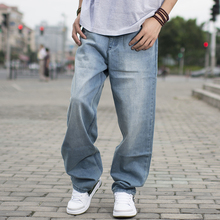 60-130kg Big Men Light Blue Loose Jeans For Men Spring and Autumn Male Skateboard Pants Big and Tall Brand Clothing Size 44 46