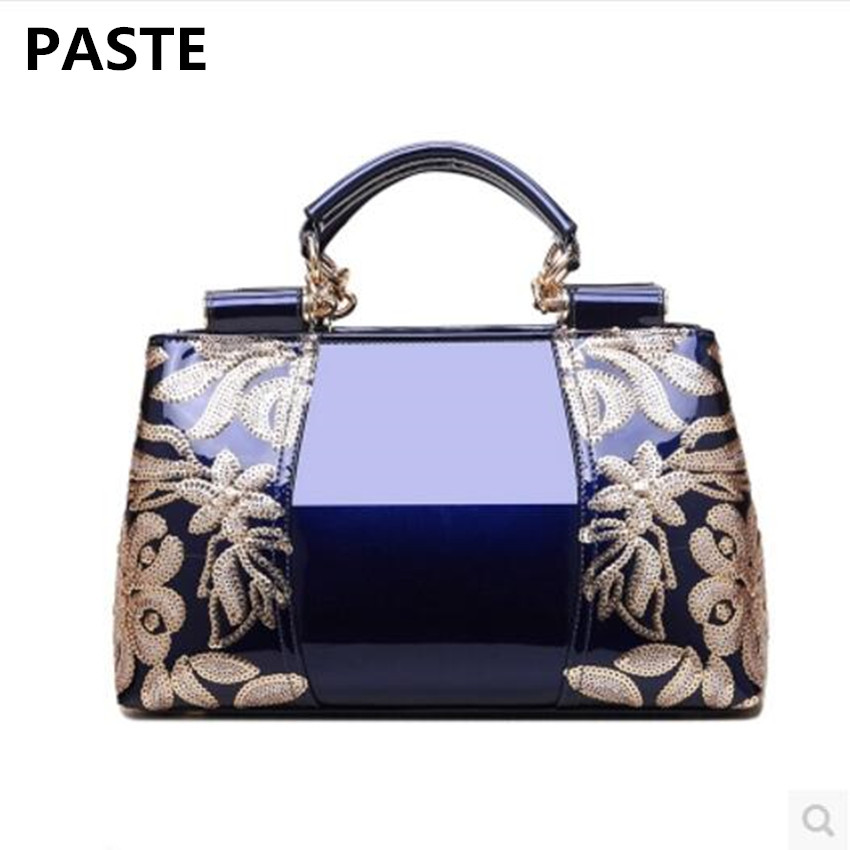 PASTE Bag 2017 New Fashion Handbag Female Patent Leather Middle-aged Female Bag Mother Bag Casual Shoulder Messenger Bag patent leather handbag shoulder bag for women