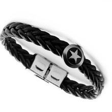 Multi-layer titanium steel imitation leather bracelet European and American five-pointed star woven men