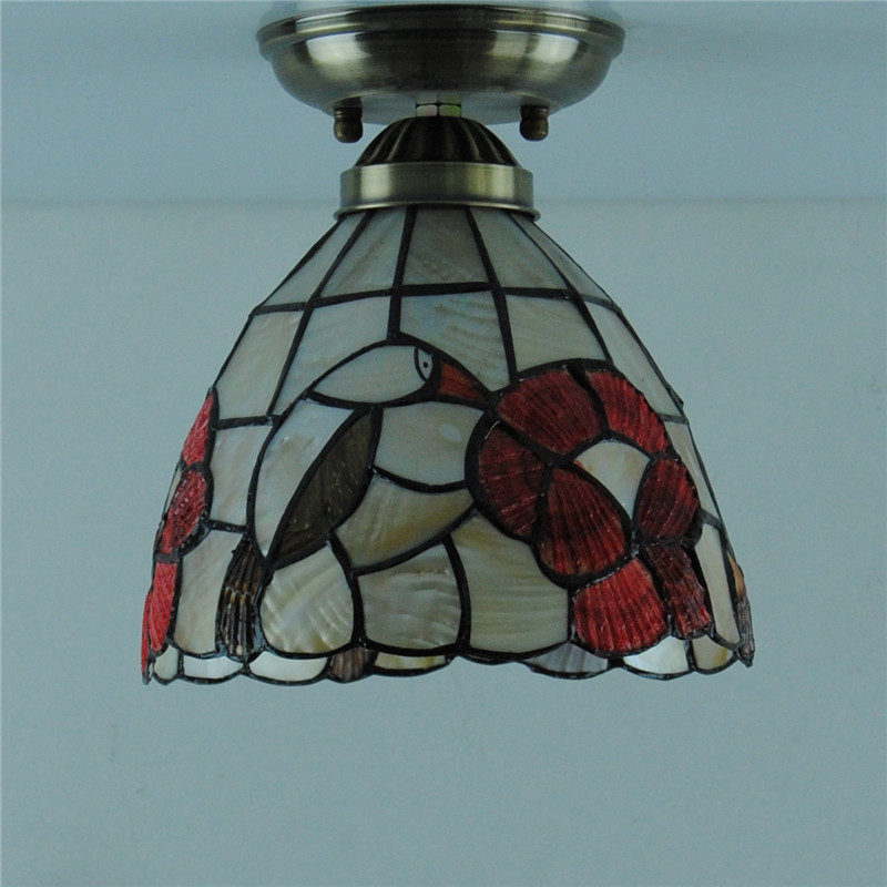 Aliexpress Com Buy 7 Tiffany Style Birds Shell Ceiling Light Mediterranean Vintage Stained Glass Hanging Lamp Lighting Fixtures For Bedroom Cl255