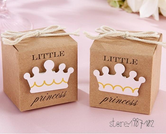 100pcs Little Prince Princess Square Crown Kraft Paper Baby Shower Candy Box Party Gift Boxes Girl Boy Kids Birthday Favors Box
