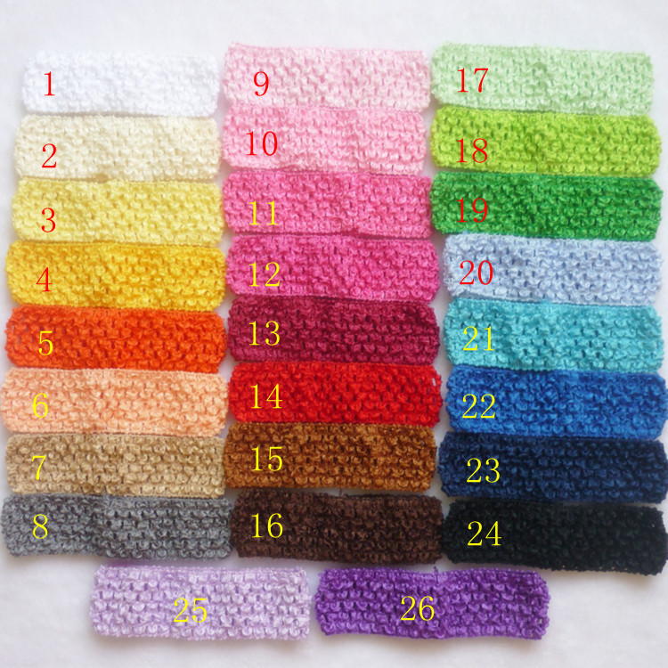 52pcs/lot Free Shipping Baby Hair band Crochet Headbands Children Hair bands Kids Accessories 26 color in stock D01