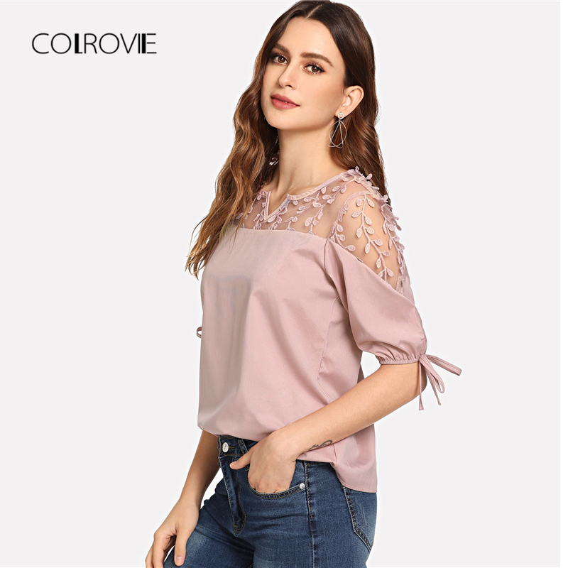 COLROVIE Autumn Knot Mesh Panel   Blouse     Shirt   2018 Summer Pink Workwear Feminine   Blouse   Green Casual Half Sleeve Women Tops