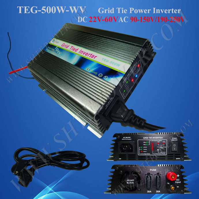 On Grid Solar Inverter 500w with DC 22v-60v input to AC 240v Output micro grid tie inverter 500w with ip67 waterproof function dc 25 55v input to ac 220v 230v 240v output