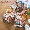 KUANGNAN Summer Shorts Men Cotton Linen Men Shorts Print Casual Short Men Drawstring Mid Regular Regular 2018 Chinese Style 2
