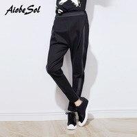 Alta Qualidade Mulheres Harem Pants Primavera Outono Casuais Solta Patchwork Elástico Na Cintura Preto Calças Femininas