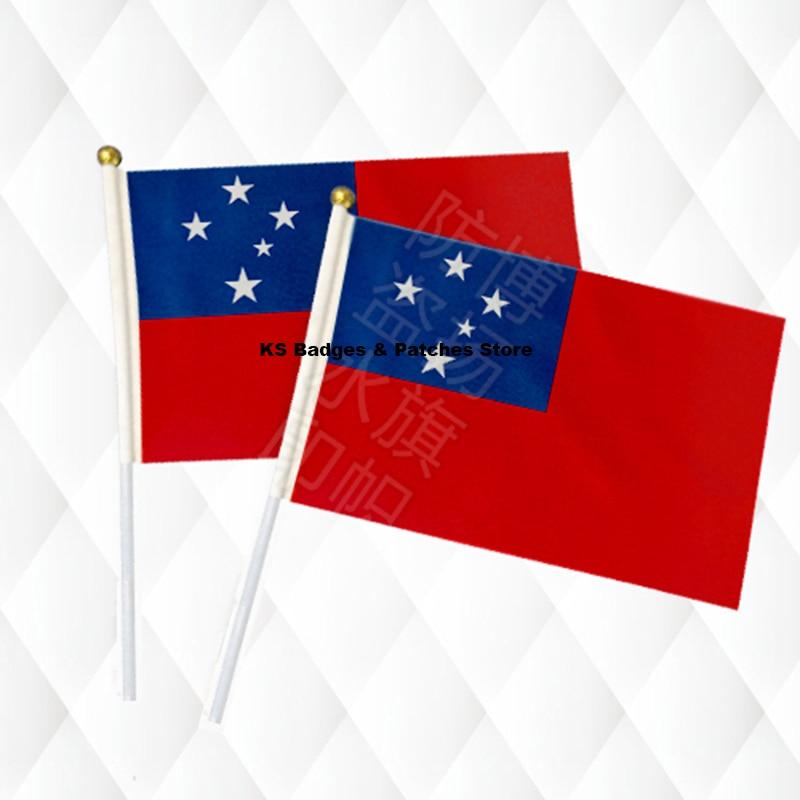 Fahnen, Banner & Zubehör Samoa Hand Stick Tuch Fahnen Sicherheit Ball Top Hand Nationalen Flaggen 14*21 Cm 10 Stücke Viel Ks-0151 Attraktive Designs;