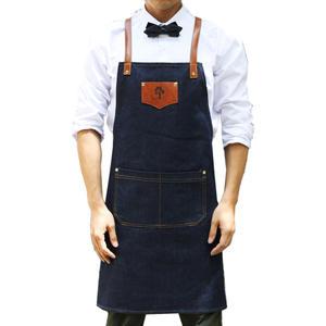 CHENGX Delantal de Vaquero con Cuello Colgante,Delantal de Trabajo,Cocina,Cocina,Correas de Cuero sin Mangas Black Large