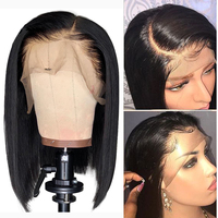 Straight Human Hair Wig Peruvian Bob Wig MIHAIR Lace Front Human Hair Wigs For Black Women Pre plucked With Baby Hair Remy Wig