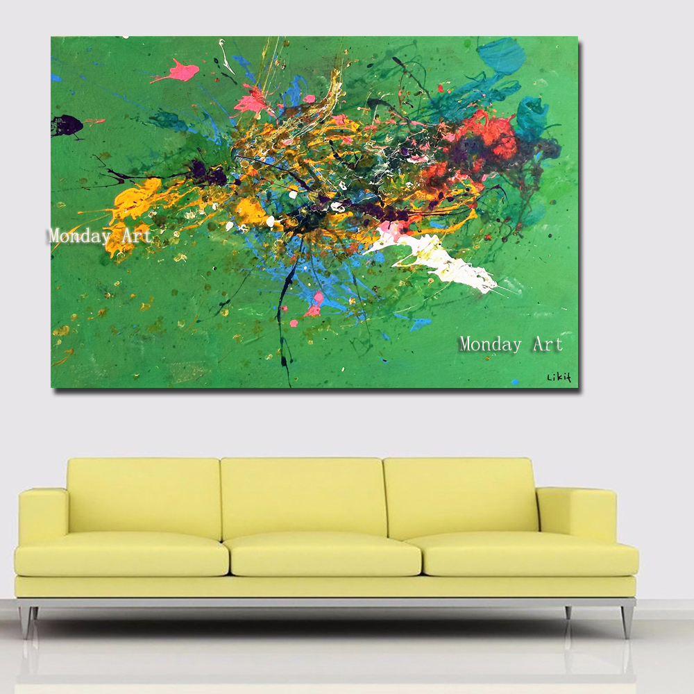 v HD Print Abstract Art Modern Canvas Painting Printed on Canvas Abstract Green Painting Wall Picture Prints Poster