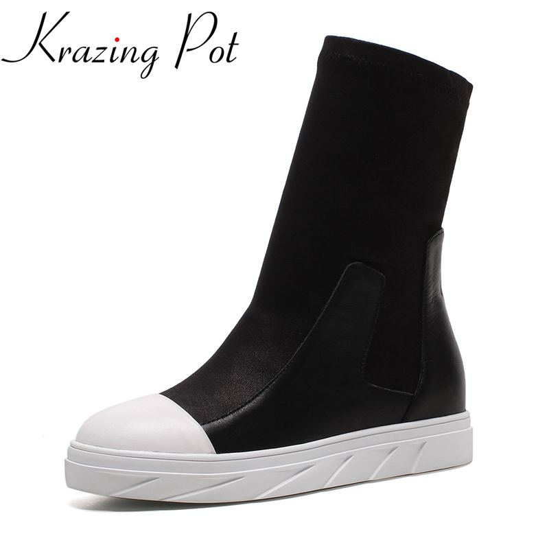 Krazing Pot 2018 large size genuine leather slip on flat with winter boots round toe casual stretch runway Mid-Calf boots L69 slip on winter boots stretch lycra