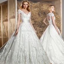 ball bridal gown vestido de noiva Renda Zuhair Murad 2015 Cap Sleeve V Neck Lace appliques Princess Wedding Dress Open Back