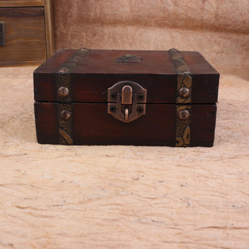 Decorative Trinket Jewelry Storage Box Vintage Wooden Chest Treasure Case