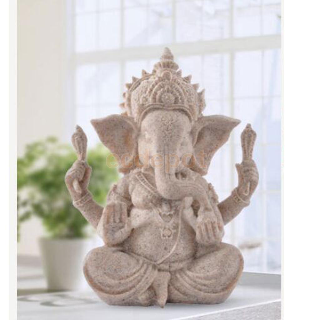 Hand Geschnitzte Sandstein Sitzt Ganesh Buddha Gottheit Elefanten Hindu Statue Decor