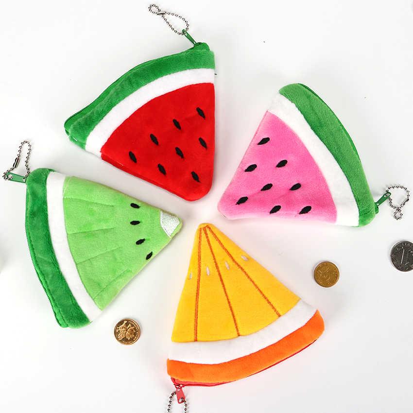 1PC Meninas Kawaii Fruit Forma Zipper Coin Bolsas Crianças Plush Morango Melancia Senhoras Carteira Pequena Chave Saco