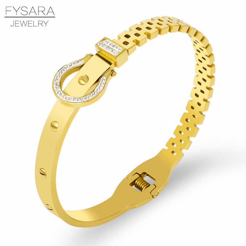 FYSARA Famous Design Screw Belt Bracelet & Bangle For Women Luxury AAA Crystals Cuff Bangle Stainless Steel European Jewelry
