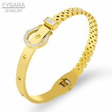 b837c04f16b FYSARA Famous Design Screw Belt Bracelet   Bangle For Women Luxury AAA  Crystals Cuff Bangle Stainless