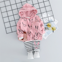 New 2019 Toddler Infant Clothing Sets Baby Girls Clothes Suits Autumn Cartoon T Shirt Stripe Pants Children Costume Kids Suit autumn children clothing sets newborn infant long sleeve baby boy letters printing t shirt stripe pants kids clothes 2 pcs sui