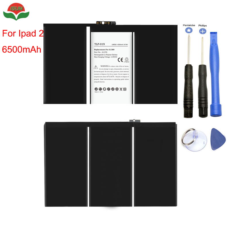 ISUN Original Quality <font><b>Battery</b></font> For iPad 2 <font><b>Battery</b></font> 6500mAh <font><b>A1376</b></font>, 616-0559, 616-0561, 616-0576 <font><b>Battery</b></font> with free tools image
