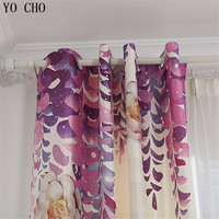 YO CHO purple vine flowers blackout curtains for living room study hotel bedroom printed high quality butterfly window curtain