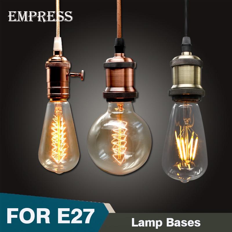 Vintage Métal Pendentif Lumière Bronze À Incandescence Ampoule E27 Socket Edison Lampe Ombre titulaire Rétro Ampoule Prise De Fer lampara Lumière