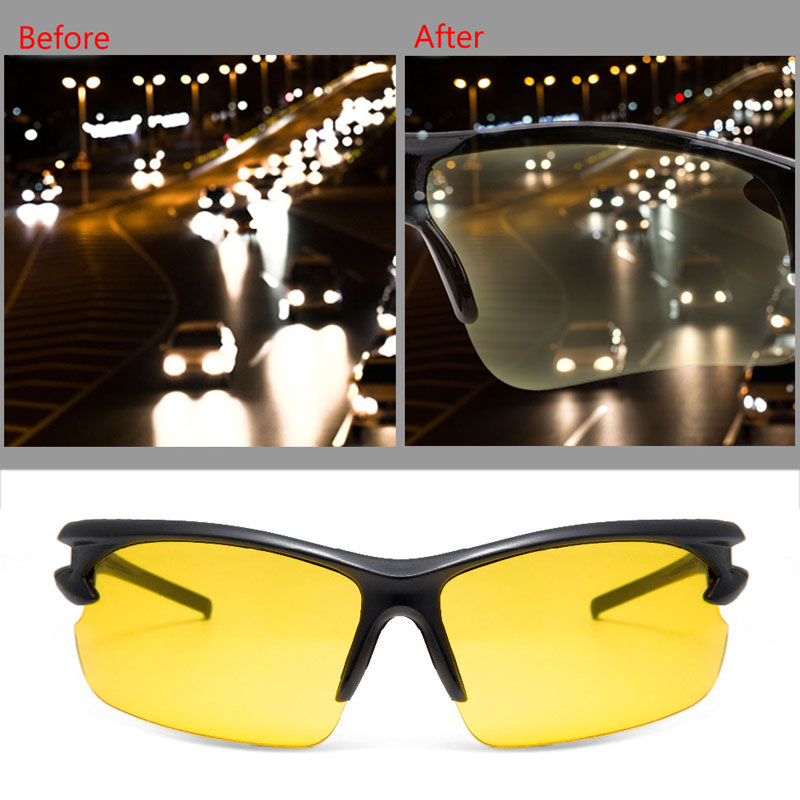Night Vision Glasses Anti-glare Driving Glasses Outdoor Drivers Night Vision Goggles UV400 Luminous Protective Gears Sunglasses