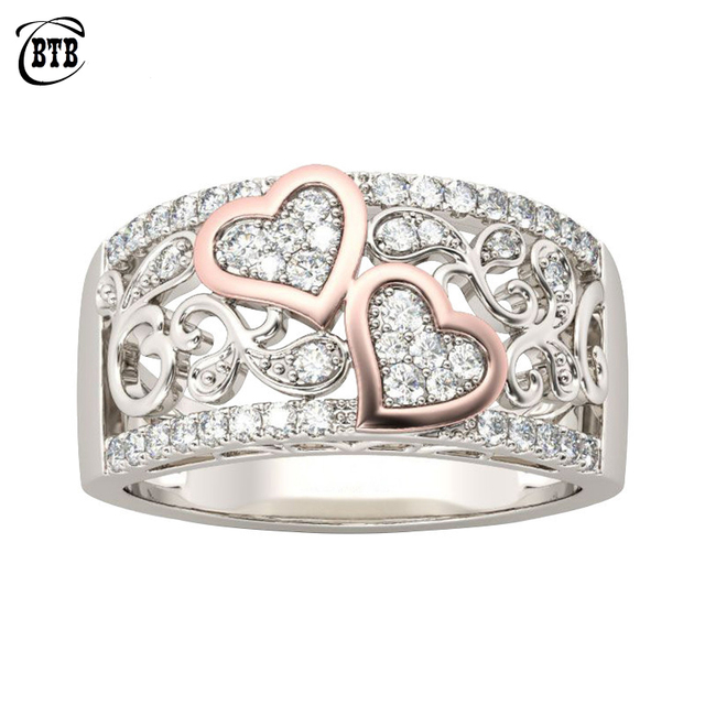 Fashion Jewelry Design Wedding Band Ring for Women Rose Gold Color CZ Stone