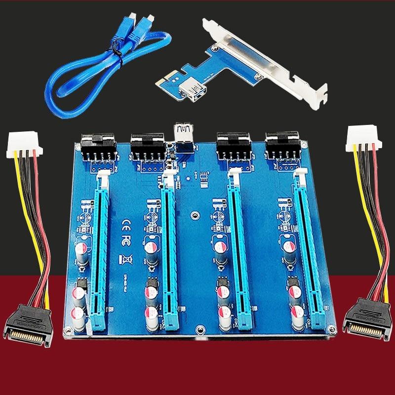 PCIe 1 to 4 PCI express 16X slots Riser Card USB3.0 PCI-E 1X to External 4 PCI-e slot Adapter Port Multiplier Card for BTC Miner 4 slots pci e 1 to 4 pci express 16x slot external riser card adapter board pcie multiplier card for btc miner