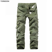 Men Cargo Pants Army Green Casual Trousers Hot Sale Men's Pant Multi Pocket Military Overall Mens Long Trousers Big Size 28-40