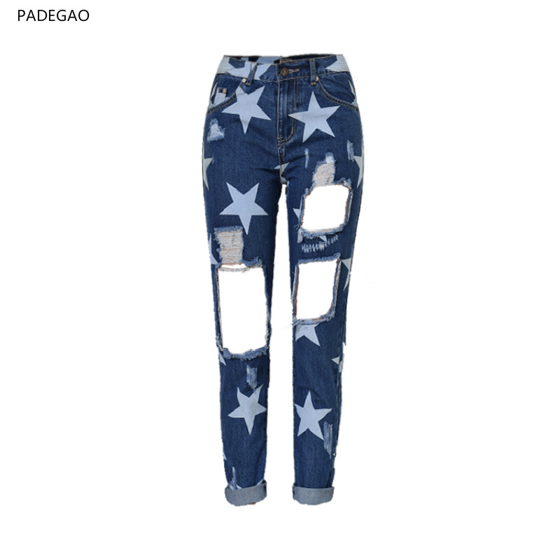 2017 New High Waisted Skinny Jeans Ripped BF All Match Beggars Denim Pants Loose Straight Dark Blue Star Print Jeans Trousers
