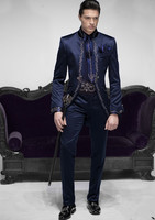 Tailor Made Italian Embroidery Navy Blue Men Suits Slim Fit Groom Prom Tuxedo 2 Piece Male Blazer Luxury Brand Jacket+Pant Terno