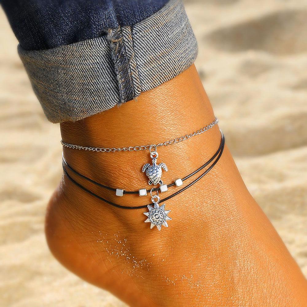 Vintage Multi Layered Turtle Pendant Anklet For Women Boho Sun Beads Charm Ankle Bracelet Summer Beach Leg Chain Foot Jewelry