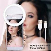 Nueva llegada USB carga Selfie Flash portátil Led Cámara teléfono anillo de luz para fotografía mejora la fotografía para Smartphone