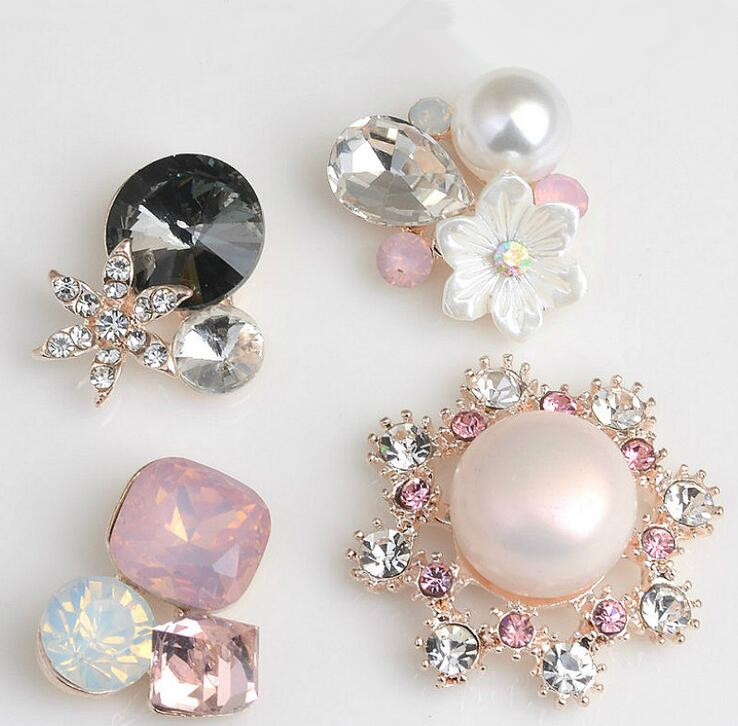 10pcs/lot Gold Base Rhinestone Pearl Hair Embellishments Buttons Hairbow Center Decoration