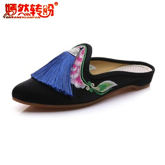 Tassel Embroidered Women Cotton Fabric Pointed Toe Flat Mules Comfort Shoes