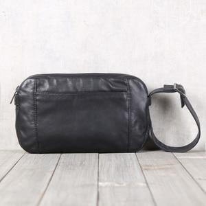 Image 2 - Men Casual Shoulder Bag Handbag Genuine Leather Male Small Bag handmade 100% Cowhide Fashion Mini Satchel Travel Crossbody Bags