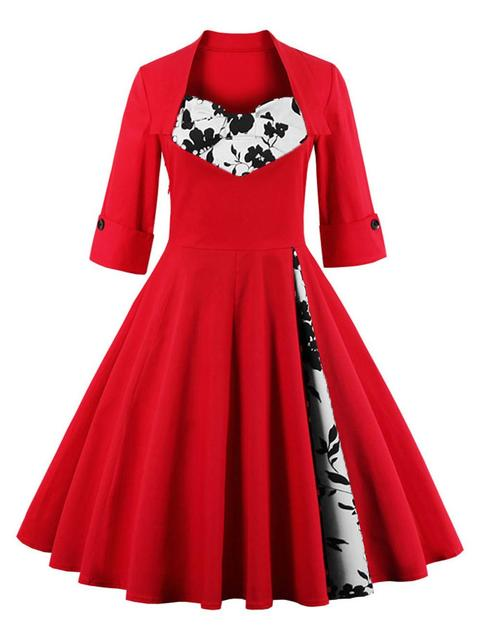 UK Women plus size clothing Audrey hepburn 50s Vintage elegant V ...
